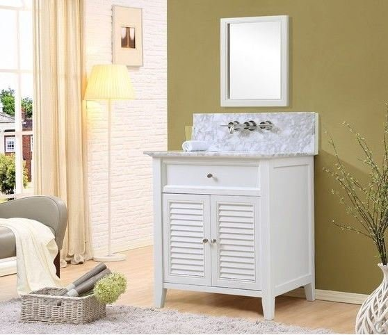 "Shutter Premium 32"" White Vanity w/ Carrara White Marble Top & Mirror - JJ-32S12-WWC-WM-M"
