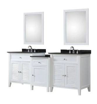 J J Shutter Spa Bath Makeup Hybrid Vanity White Granite