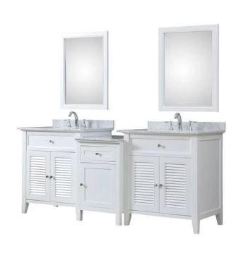 Shutter Spa 82 In. Bath & Makeup Hybrid Vanity In White w/ Marble Vanity Top In Carrara White w/ White Basin & Mirrors - JJ-2S12-WWC-MU1