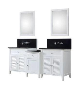 Shutter Spa Premium 82 In. Bath & Makeup Hybrid Vanity In White w/ Granite Vanity Top In Black w/ White Basin & Mirrors - JJ-2S12-WBK-WM-MU1