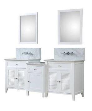 Shutter Spa Premium 82 In. Bath & Makeup Hybrid Vanity In White w/ Marble Vanity Top In Carrara White w/ White Basin & Mirrors - JJ-2S12-WWC-WM-MU1