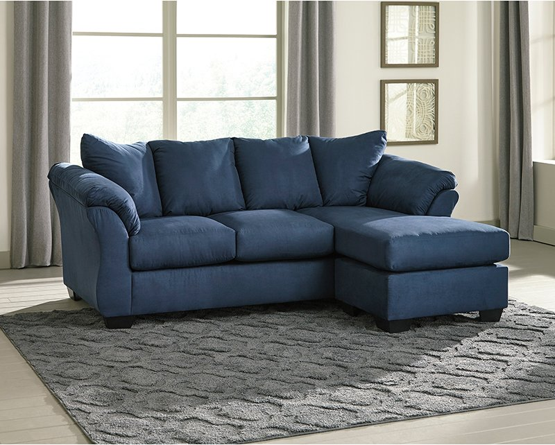 Flash Sofa Chaise Blue Microfiber