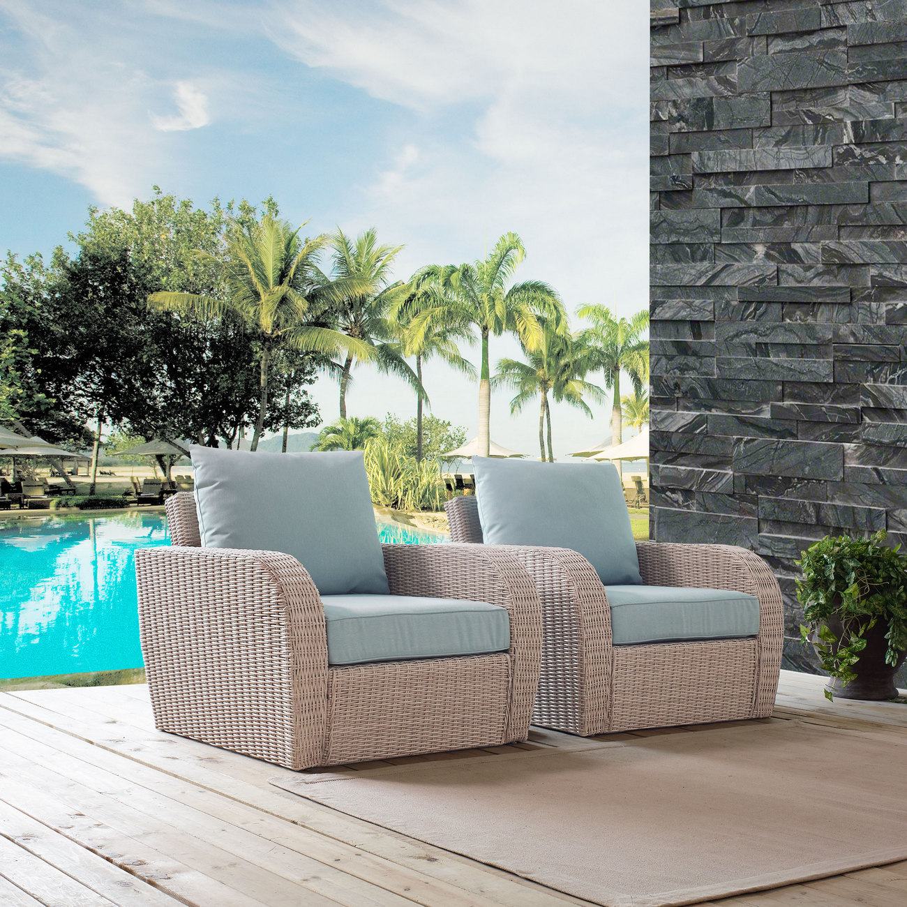 Crosley Brands Augustine Outdoor Wicker Seating Set Mist Cushion