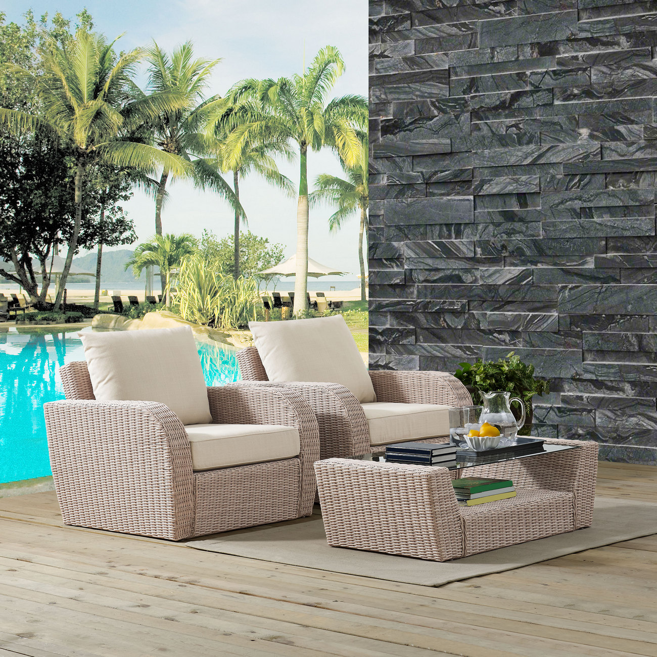 Cushion | Outdoor | Coffee | Table | Seat | St. | Set