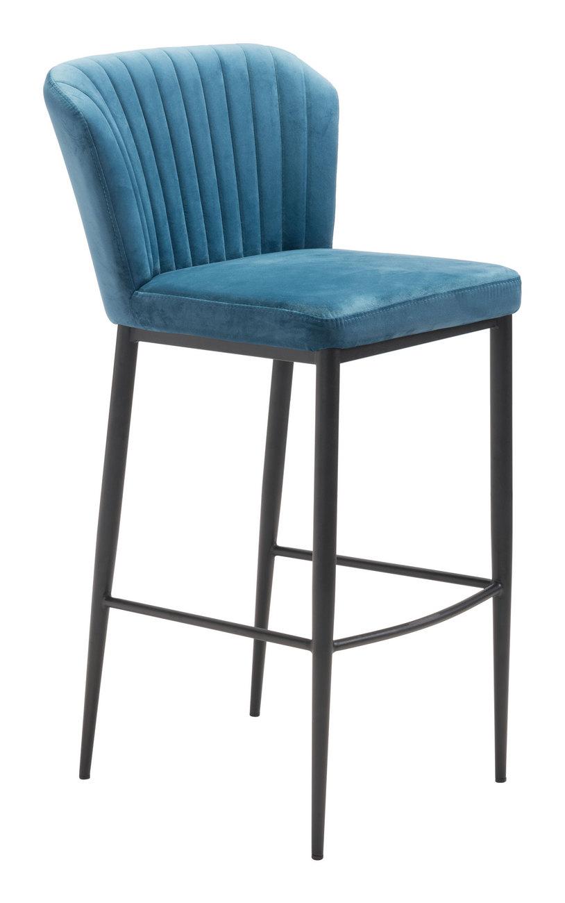 Zuo Bar Chair Blue Velvet