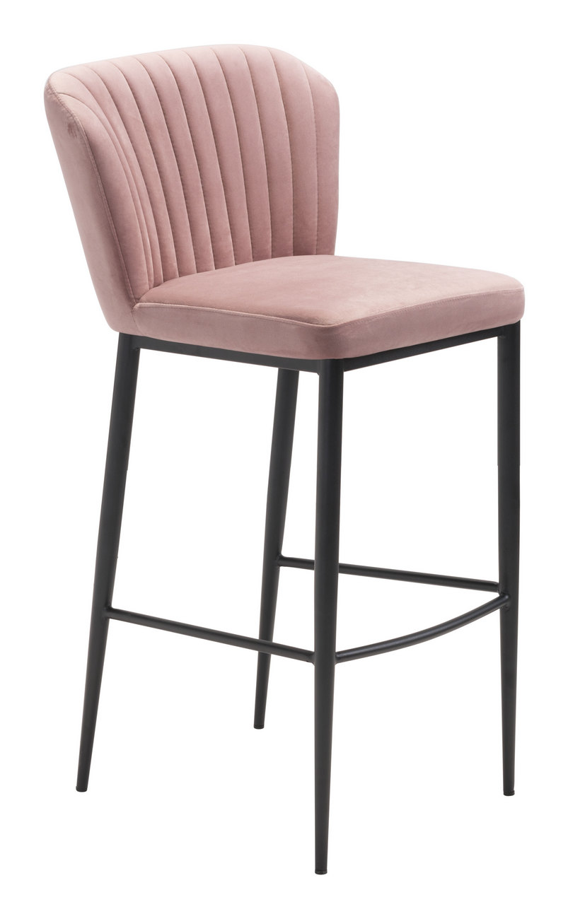 Zuo Bar Chair Pink Velvet