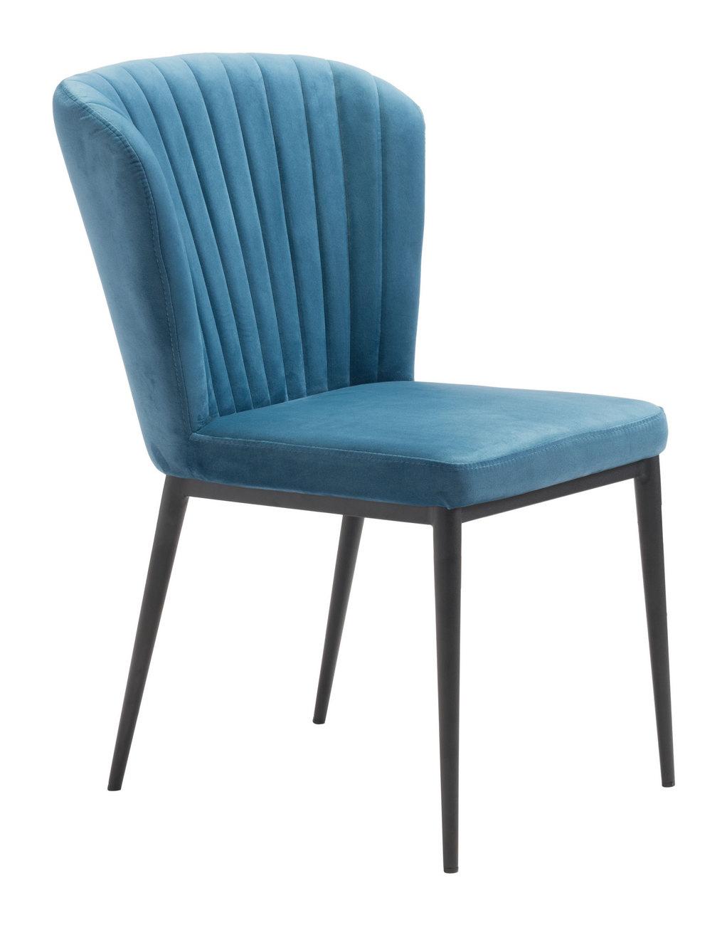 Zuo Dining Chair Blue Velvet
