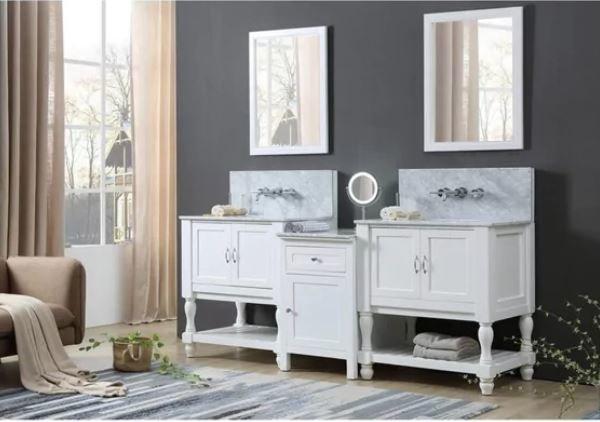J J Spa Premium Bath Makeup Hybrid Vanity White Marble