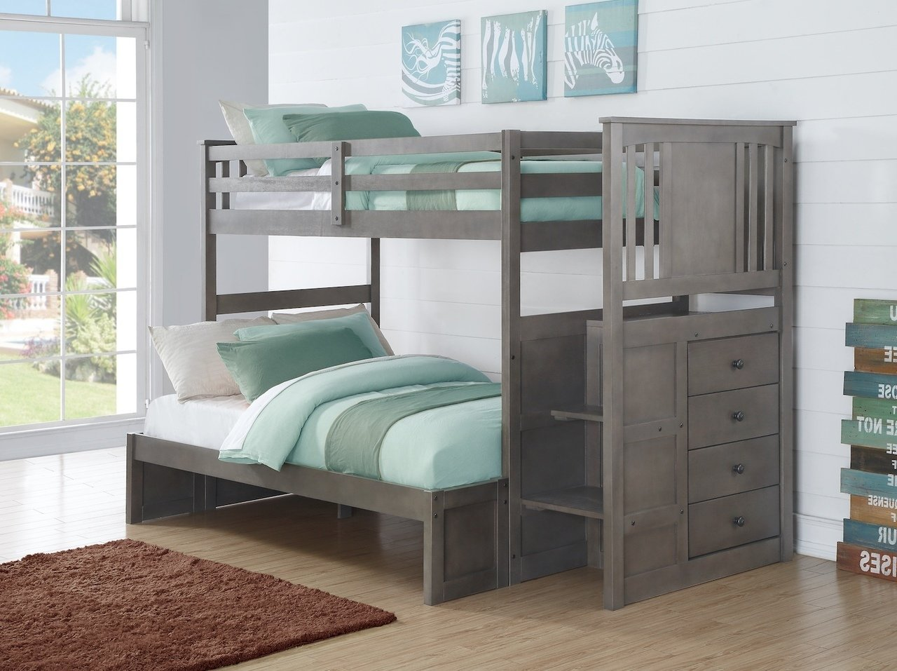 Donco Kids Twin Stairway Bunkbed