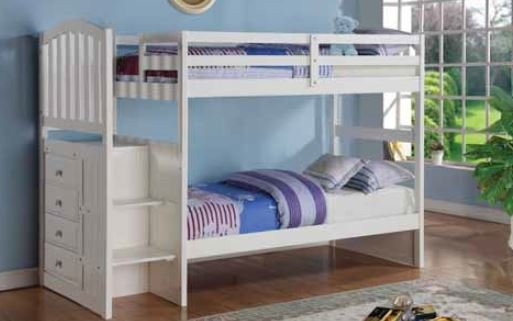 Donco Kids Twin Over Full Stairway Bunkbed White
