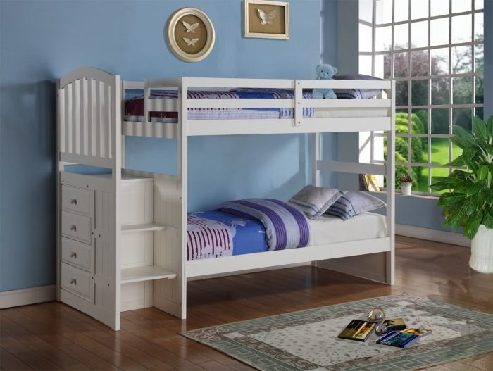 Donco Kids Twin Over Twin Stairway Bunkbed White