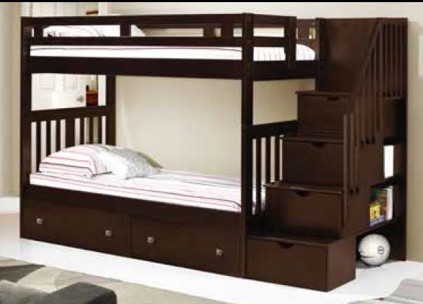 Donco Kids Twin Over Twin Tall Stairway Bunkbed Cappuccino