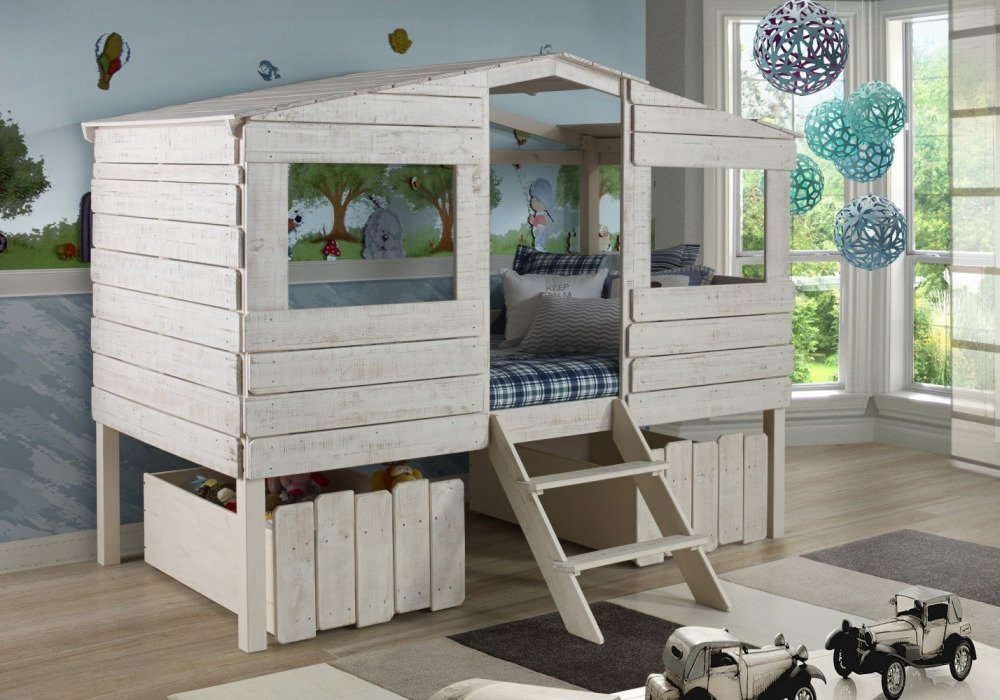 Donco Kids Twin Tree Low Loft Bed Rustic Sand Underbed Storage