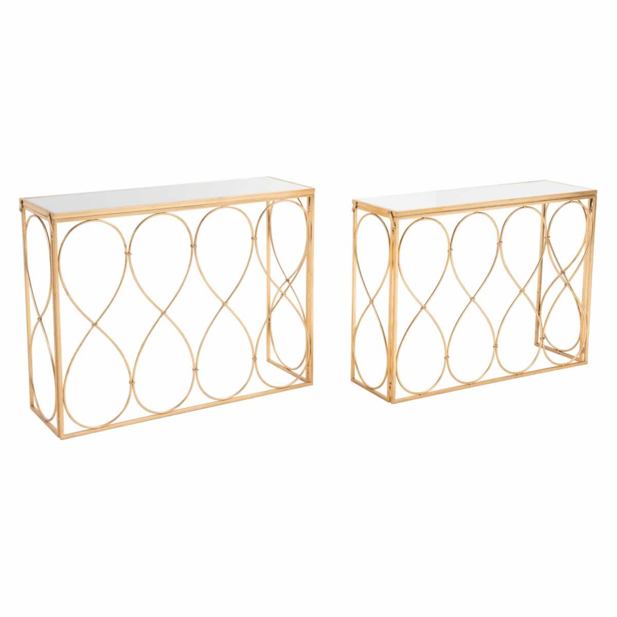 Zuo Twist Console Table Set Gold