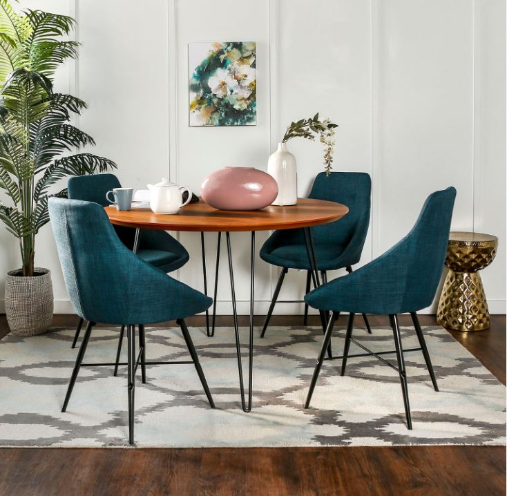 Walker Edison Urban Mid Century Modern Round Hairpin Dining Set Walnut Blue