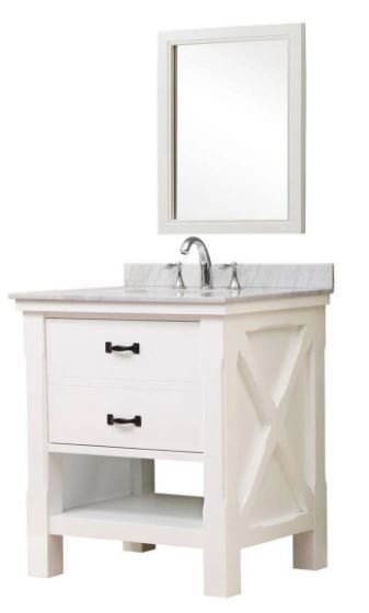 J J Spa White Vanity Carrara White Marble Mirror
