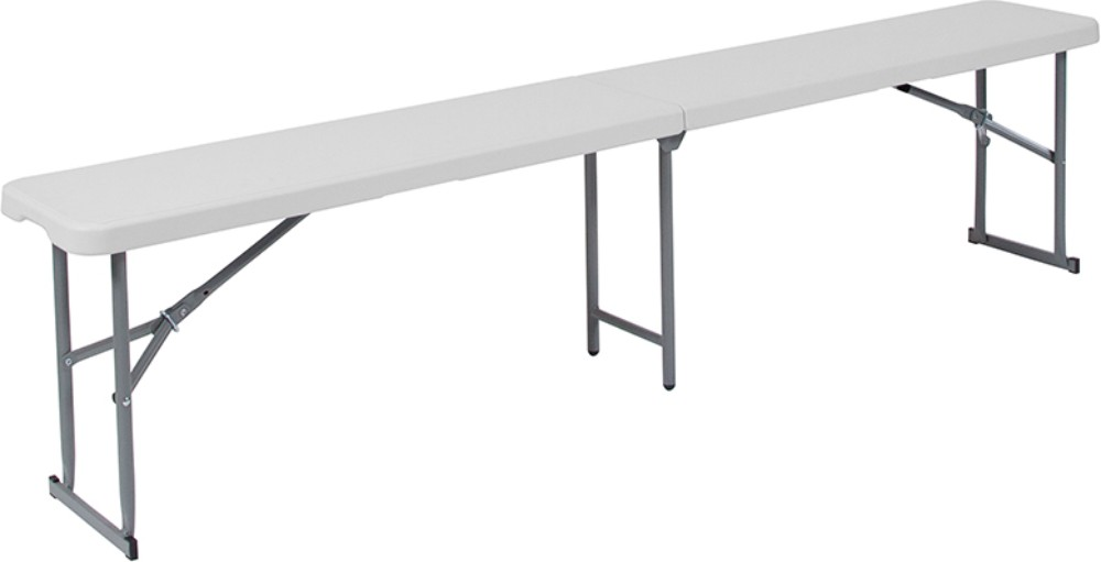 10.25''W x 71''L Bi-Fold Granite White Plastic Bench w/ Carrying Handle - Flash Furniture RB-1172FH-GG