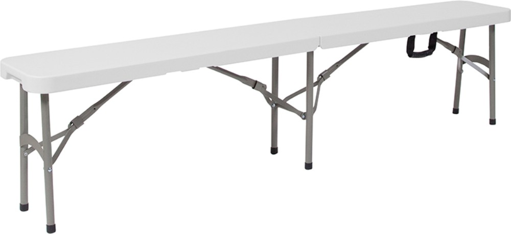 "11''W x 72""L Bi-Fold Granite White Folding Bench w/ Carrying Handle - Flash Furniture DAD-YCD-183Z-2-GG"