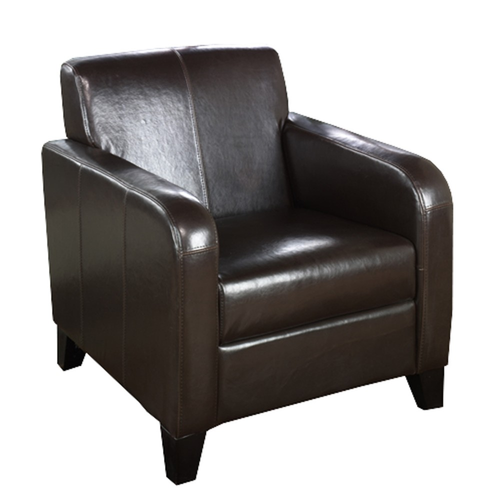 1400 Brown Leather Club Chair - Armen Living Lcms0011db