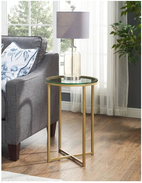 "16"" Round Side Table in Glass/Gold - Walker Edison AF16ALSTGGD"