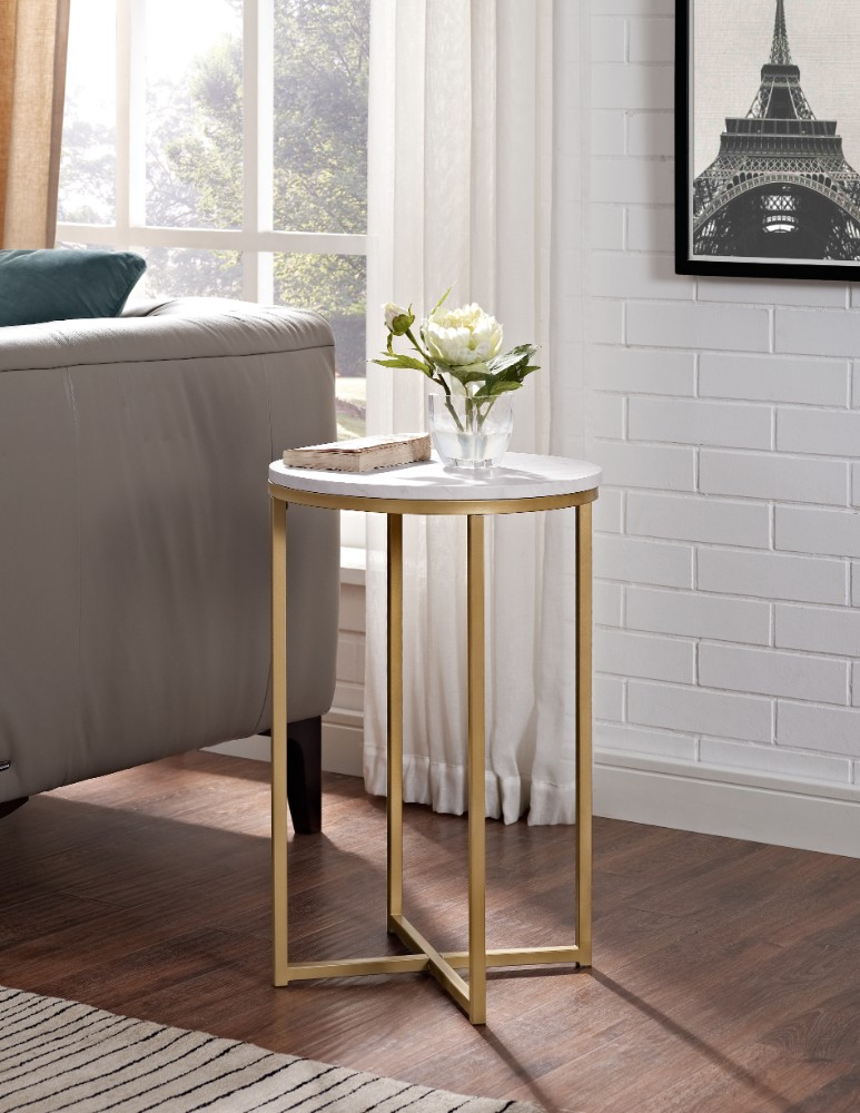 "16"" Round Side Table in Marble/Gold - Walker Edison AF16ALSTMGD"