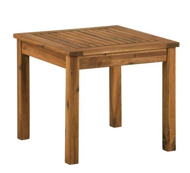 "20"" Wood Patio Simple Side Table in Brown - Walker Edison OWSSTBR"