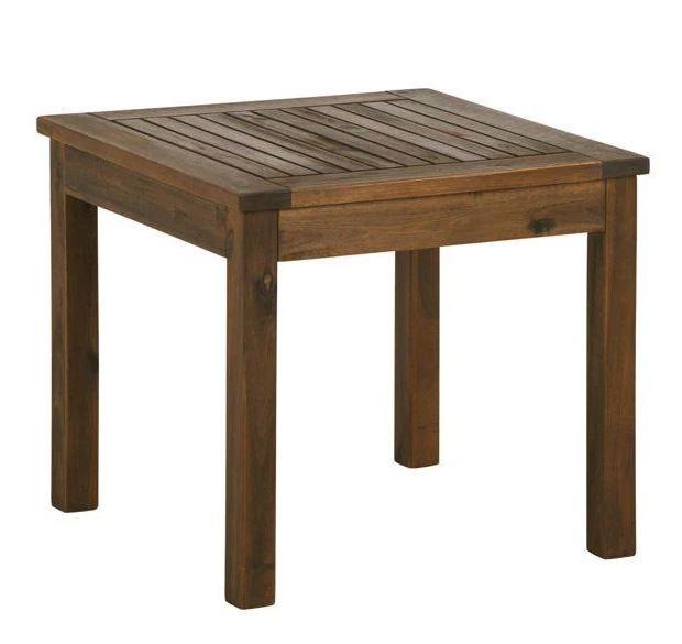 """20"""" Wood Patio Simple Side Table in Dark Brown - Walker Edison OWSSTDB"""
