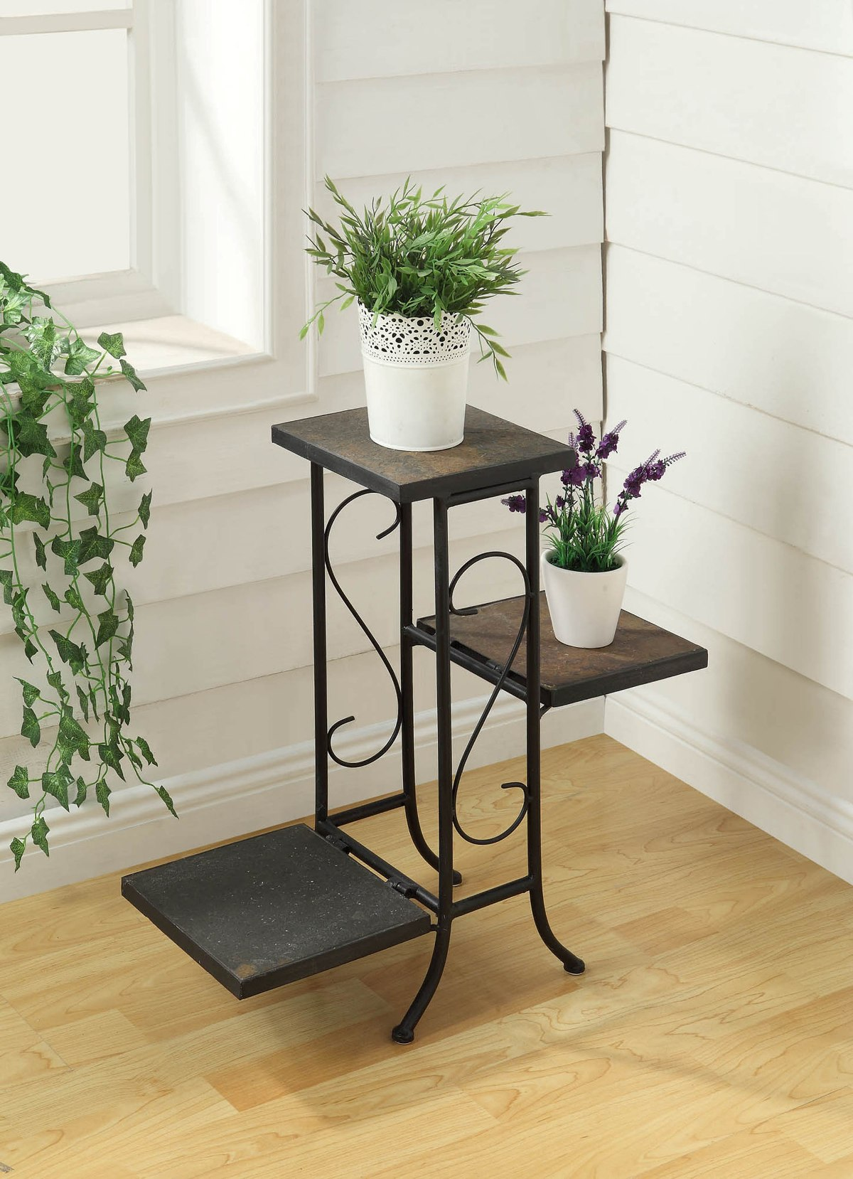 3 Tier Plant Stand w/ Slate Top - 4D Concepts 601608