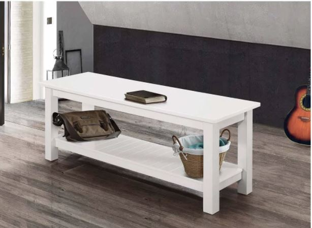 Image of 50'' Country Style Entry Bench w/ Slatted Shelf in White - Walker Edison B50CYSLWH