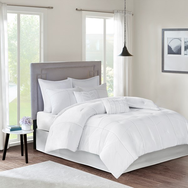 510 Design King 8 Piece Comforter Set in White - Olliix 5DS10-0002