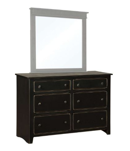 Drawer Dresser Mirror Black Distressed