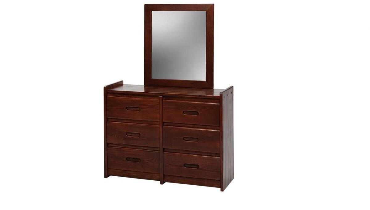 6 Drawer Dresser w/ Mirror Dark - Chelsea Home Furniture 360066-011-D Image