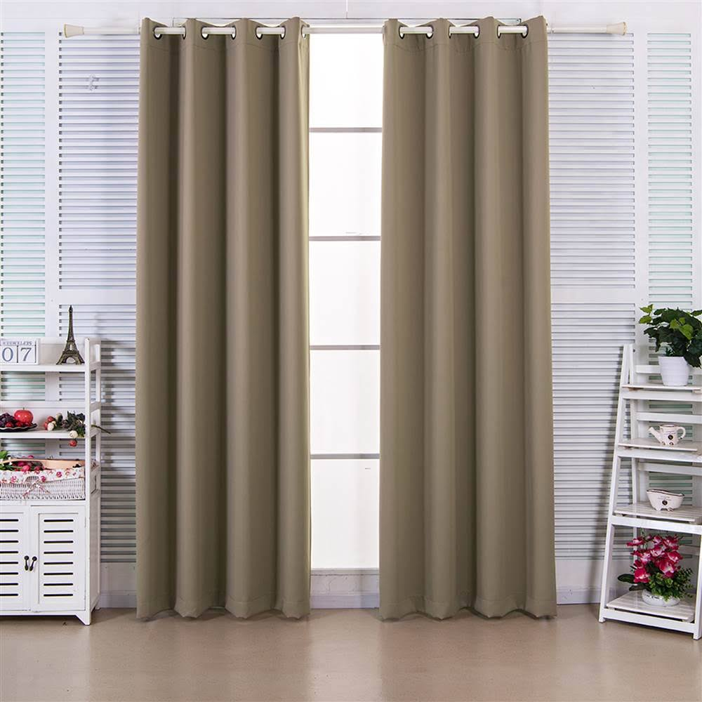 """63"""" Ephesus Premium Solid Insulated Thermal Blackout Grommet Window Panels in Sepia Brown - Elegant Home Fashions WC-CHB10-63"""