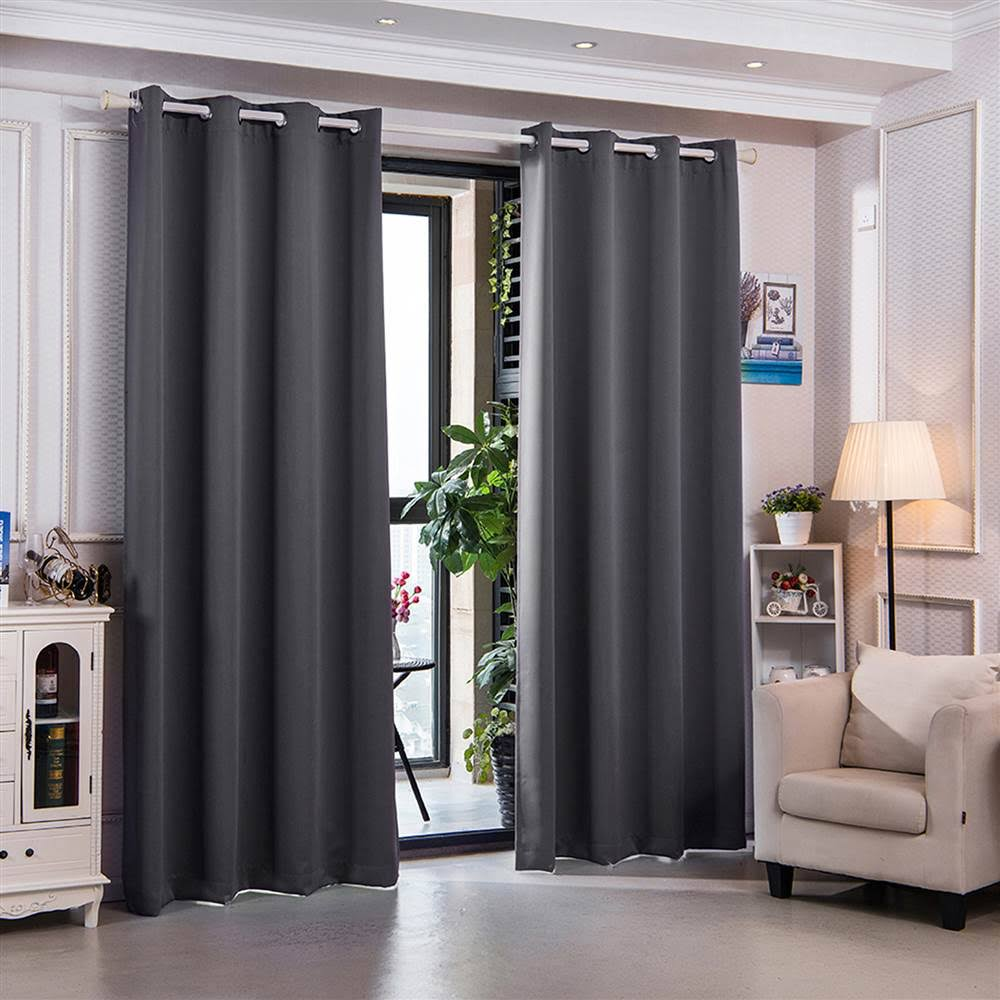 """63"""" Sparta Premium Solid Insulated Thermal Blackout Grommet Window Panels in Dove Grey - Elegant Home Fashions WC-CHB15-63"""