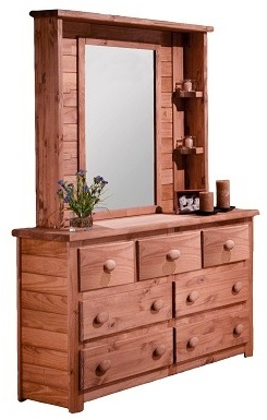 Chelsea Home Drawer Dresser Mirror Hutch Mahogany Stain