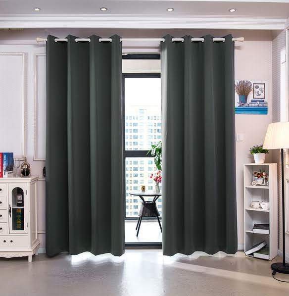 """84"""" Delphi Premium Solid Insulated Thermal Blackout Grommet Window Panels in Smoke Grey - Elegant Home Fashions WC-21006-84"""