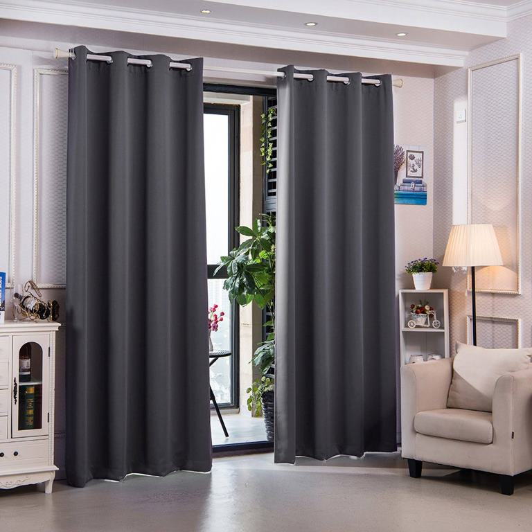"""84"""" Sparta Premium Solid Insulated Thermal Blackout Grommet Window Panels in Dove Grey - Elegant Home Fashions WC-CHB15-84"""