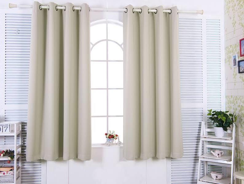 """84"""" Tripoli Premium Solid Insulated Thermal Blackout Grommet Window Panels in Oyster - Elegant Home Fashions WC-CHB02-84"""