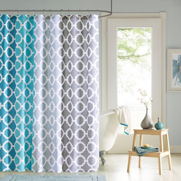 "90° by Design Lab Dani 72x72"" Printed Shower Curtain & Hook Set in Teal - Olliix DES70-006"