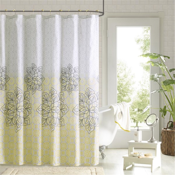 "90° by Design Lab Jessica 72x72"" Printed Shower Curtain & Hook Set in Yellow - Olliix DES70-001"