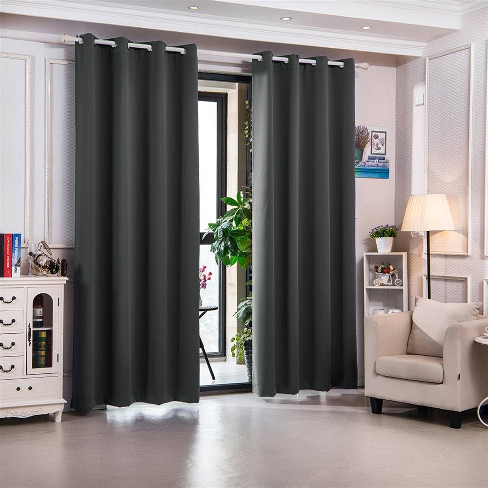 """96"""" Delphi Premium Solid Insulated Thermal Blackout Grommet Window Panels in Smoke Grey - Elegant Home Fashions WC-21006-96"""