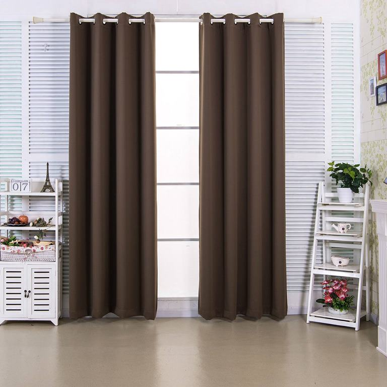 """96"""" Edessa Premium Solid Insulated Thermal Blackout Grommet Window Panels in Hazelnut Brown - Elegant Home Fashions WC-CHB13-96"""