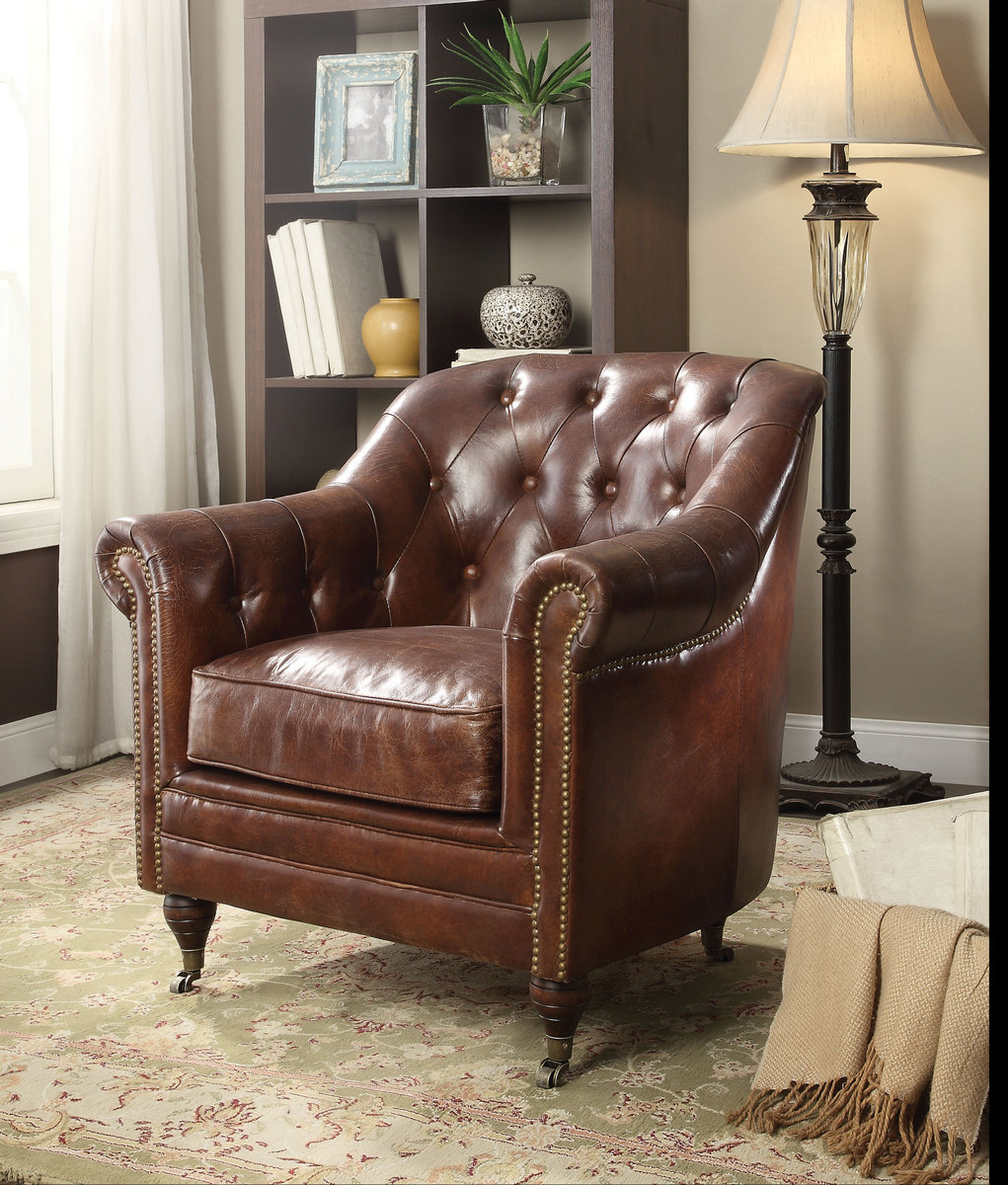 Aberdeen Chair in Vintage Dark Brown Top Grain Leather - Acme Furniture 53627