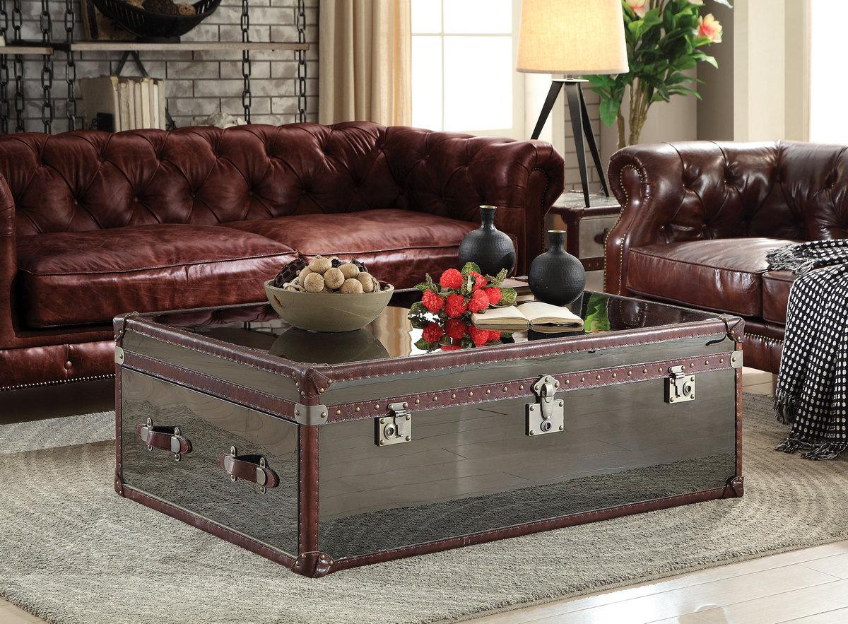 Acme Coffee Table Vintage Dark Brown Grain Leather Stainless Steel