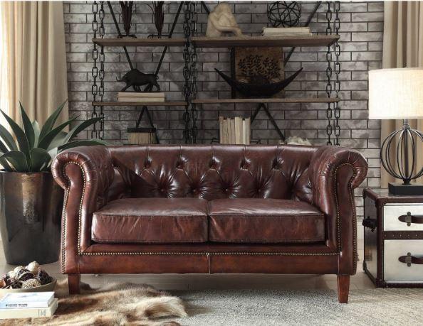 Acme Loveseat Vintage Dark Brown Tg Leather