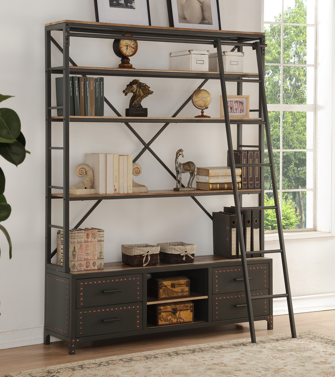 Actaki Bookshelf & Ladder in Sandy Gray - Acme Furniture 92433
