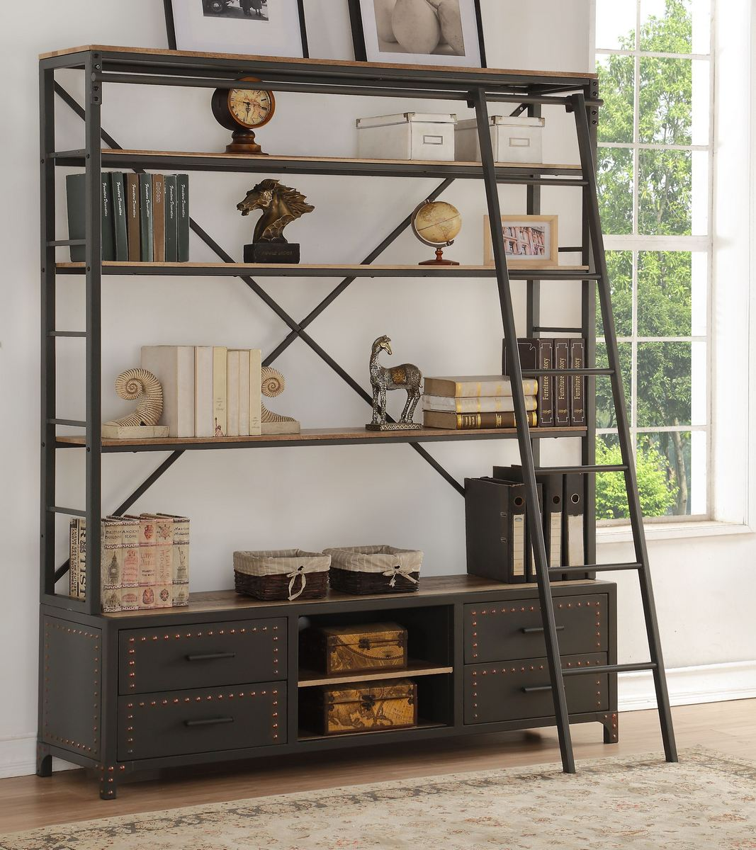 Actaki Bookshelf & Ladder in Sandy Gray - Acme Furniture 92436