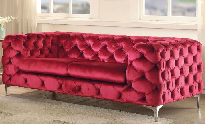 Adam Loveseat in Red Velvet - Acme Furniture 52796