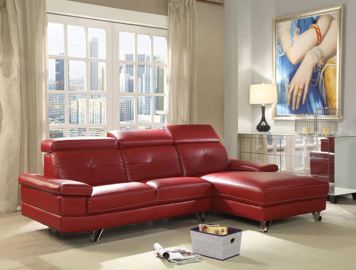 Acme Aeryn Sectional Sofa Red Pu