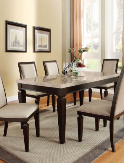 ACME Contemporary Faux Marble Dining Set White